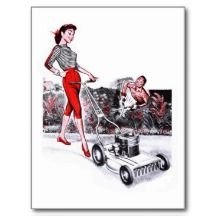 Kitsch Vintage Lawn Mower Pin Up Girl Postcard