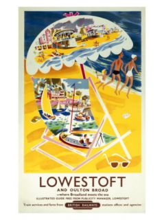 Lowestoft and Oulton Broad, British Rail, c.1960 Giclee Print