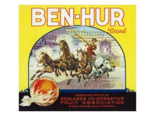 Redlands, California, Ben Hur Brand Citrus Label Print