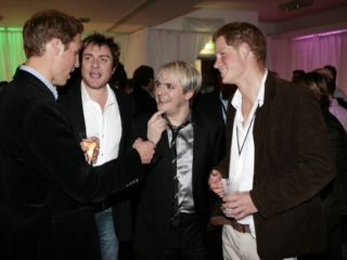 Prince Harry and Prince William with 80s pop band Duran Duran Photographic Print