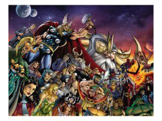 Thor #85 Group Thor, Hulk, Loki, Thanos, Beta Ray Bill and Odin Fighting Print by Andrea Di Vito
