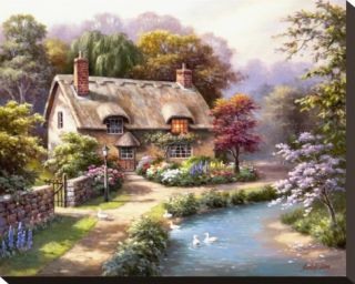 Duck Path Cottage Stretched Canvas Print by Sung Kim