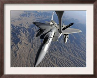 U.S. Air Force F 15 Eagle Flies Toward the Boom of a KC 135 Stratotanker Pre made Frame