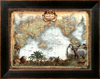 World Map Framed Canvas Print