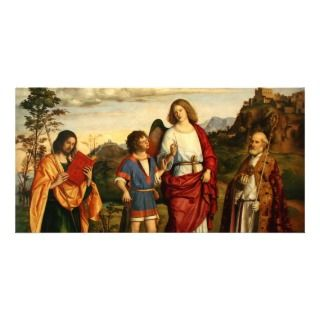 Tobias con el arcángel y dos santos tarjetas fotograficas