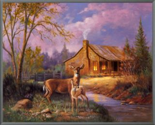 Deer Near Cabin Framed Canvas Print by M. Caroselli