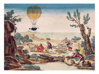 Appearance of the Hot Air Balloon of Jean Pierre Blanchard Between Calais and Boulogne, 1785 Giclee Print