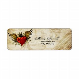 Vintage Urban Tattoo Winged Heart Return Label