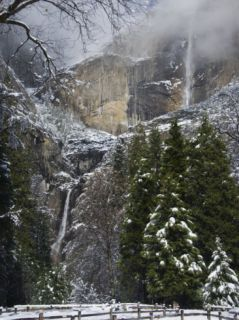 Fresh Snow Fall on Yosemite Falls, Yosemite Valley, Yosemite National Park, California, USA Photographic Print by Kober Christian