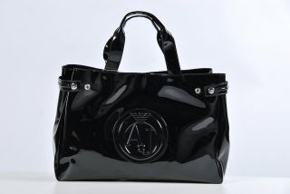 shopper tasche lack ARMANI JEANS glaenzend schwarz sac femme 2012