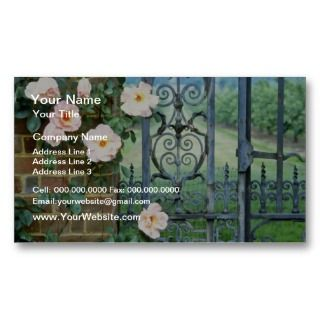 white Rose And Wrought Iron Gate flowers Business Card