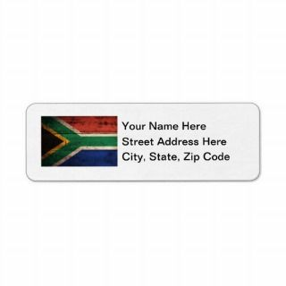 Old Wooden South Africa Flag Return Address Labels
