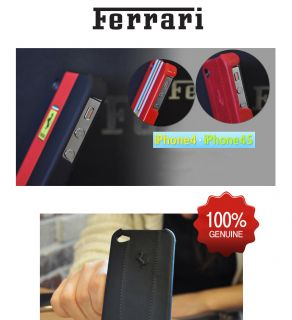 Ferrari iPhone 4/4S BLACK Leather Stitch Case Cover 100% Authentic
