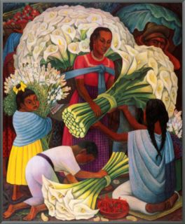 The Flower Vendor Framed Canvas Print by Diego Rivera