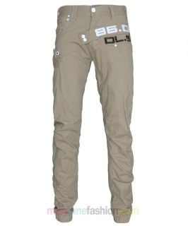 Mens Slim Fit Tapered Carrot Cuffed Chino Jeans Stone Tobacco 28 30 32