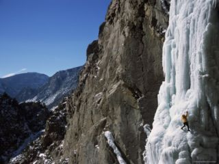 Male Ice Climbing in the Clarks Fork Canyon, Wyoming Photographic Print by Bobby Model