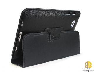 Schwarz echt Leder tasche Case Hülle Stand f. Samsung Galaxy Tab Plus