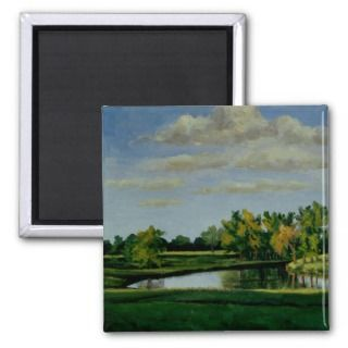 Farm Pond II, Landscape Oil Painting Fridge Magnets