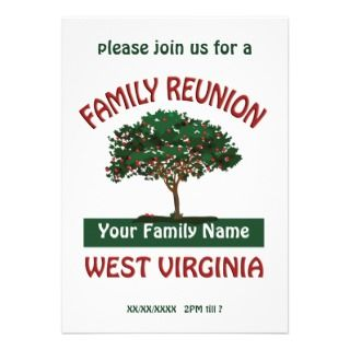 West Virginia Family Reunion Apple Tree Invitation