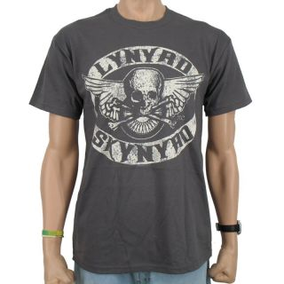 Lynyrd Skynyrd   Biker Patch Band T Shirt, dark grey