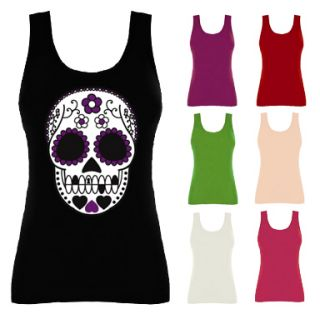Womens Mexican Sugar Skull Tattoo Vest Top NEW UK 8 16