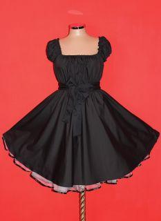 40s 50s BLACK ROCKABILLY SWING DRESS 16 18 20 Plus Size eMo Gothic Pin