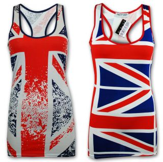Ladies Vest Womens Tank Top British England Union Jack Flag Stripe