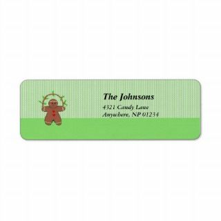 Gingerbread Man with Holly Custom Return Address Label