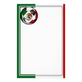 Mexico Soccer Ball w/Flag Colors Background Personalized Stationery