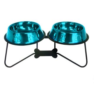 Platinum Pets Bone Tie Double Diner Stand With Stainless Steel Bowls   Dog   Boutique