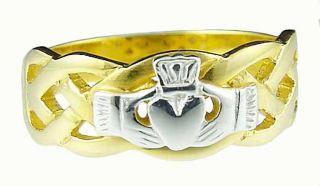 585 Gold Silber 925 Herren Claddagh Keltisch Ring neu