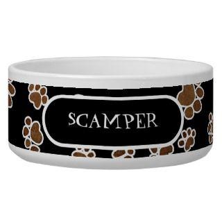 Puppy Paw Prints or Large Dog Food Feeding Dish Dog Bowls
