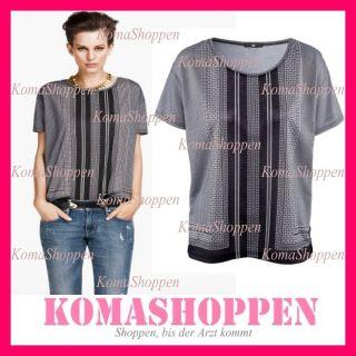 Top Bluse Hemd Tunika Schwarz Weiß Streifen Blogger XS S M 34 36 38