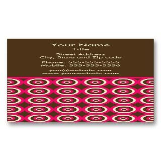 Modern Retro Circles Business Card   Pink & Brown