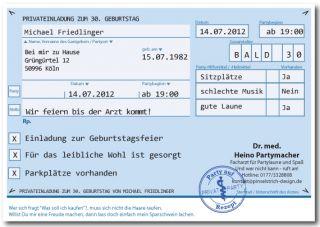 ... PRIVAT REZEPT Einladungskarten Für Geburtstag / Karte Einladung Feier; Einladung  Geburtstag Einladungskarten 30 ...