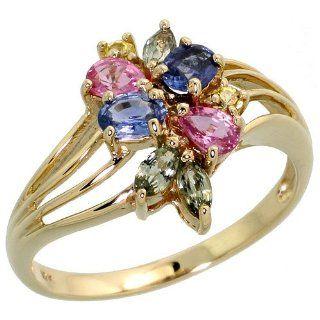 10 Karat Gold Ring Pink, Blau, Gruener & Gelb Saphir Steine, (14mm