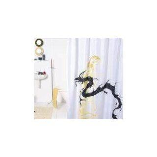 DUSCHVORHANG leuchtend Drachen aus Textil 180cm breit x 200cm lang