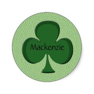 Mackenzie Shamrock Name Sticker / Seal