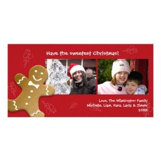 Red gingerbread man sweet candy canes Christmas Custom Photo Card
