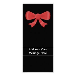 Red Ribbon Bow. On Black. Custom White Text Customized Rack Card