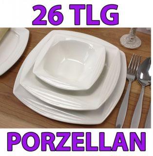Porzellan 26 tlg Tafelservice Eckig Teller Set Geschir