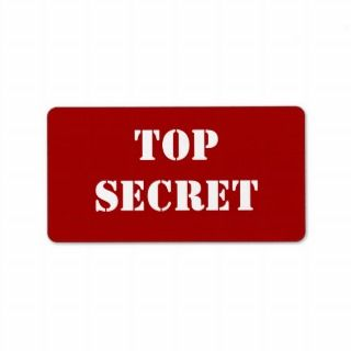 Red Stencil Top Secret Custom Address Labels