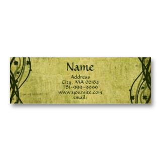 KRW Green Celtic Shamrock Parchment Custom Business Card