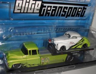 Transport CHEVY FLATBED+´41 WILLYS RACING  green  164