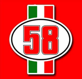 ADESIVO NUMERO CIAO 58 MARCO SIMONCELLI TRIBUTE FOR SIC HONDA RC THE