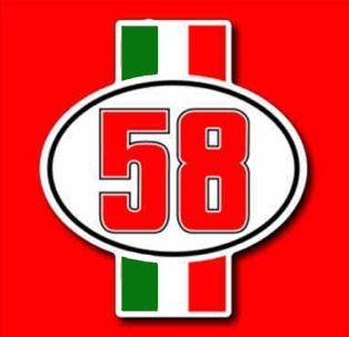 ADESIVO NUMERO CIAO 58 MARCO SIMONCELLI TRIBUTE FOR SIC HONDA RC THE
