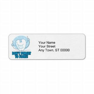 dont forget to floss flossing cartoon tooth return address labels