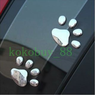 AG5570 Brand New Cool 3D Dog Footprints Chrome Badge Emblem Car