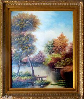 LANDSCHAFT  ÖLGEMÄLDE mit Bilderrahmen Gold Gemälde Oil Painting