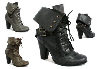 98D LADIES FOLD COLLAR MILITARY COMBAT HEEL LACE UP ARMY WORKER ANKLE
